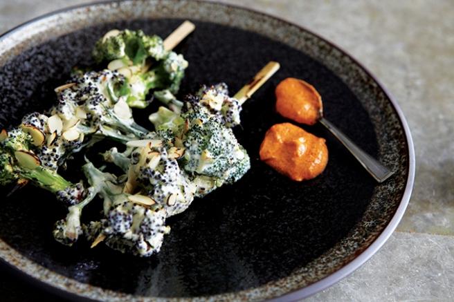 Char-Grilled Broccoli Florets with Rose-Petals & Almonds LR